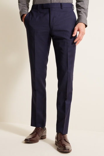 Slim Fit Navy Panama Trousers