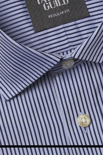 Savoy Taylors Guild Regular Fit Navy Single Cuff Stripe Shirt