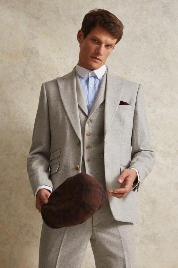 Moss London Slim Fit Light Grey Herringbone Tweed Jacket