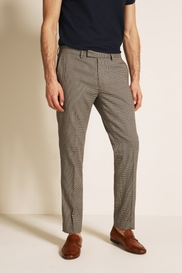 Moss London Slim Fit Oat Puppytooth Cropped Trouser