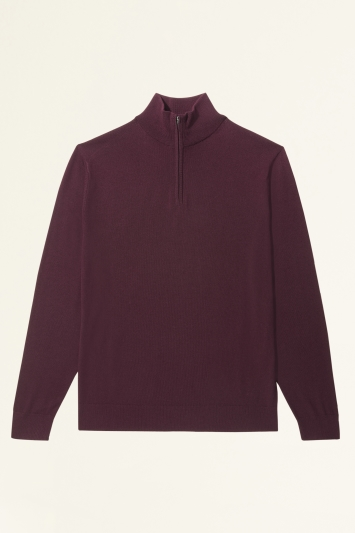Moss Bros Burgundy Merino-Blend Zip-Neck Jumper
