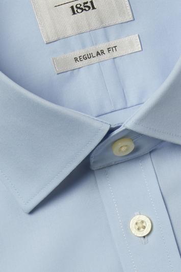 Regular Fit Sky Short Sleeve Zero Iron Shirt