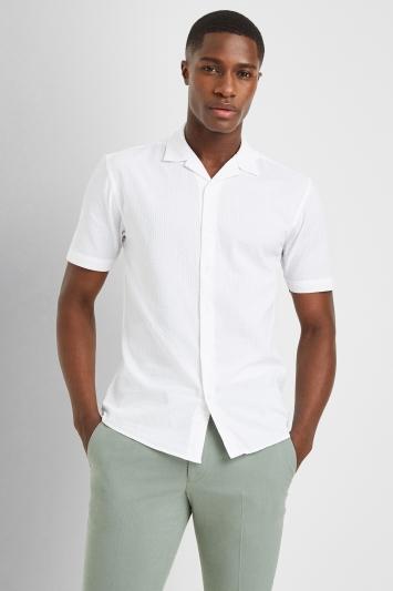 Moss London Casual White Short Sleeve Seersucker Shirt