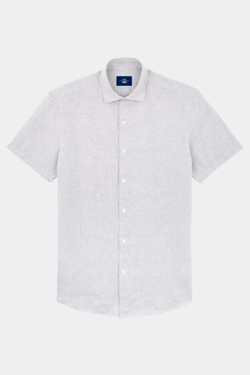 Moss 1851 Slim Fit Neutral Linen Short Sleeve Bamboo Print Casual Shirt