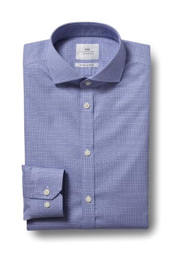 Moss London Premium Extra Slim Fit Blue Single Cuff Check Zero Iron...
