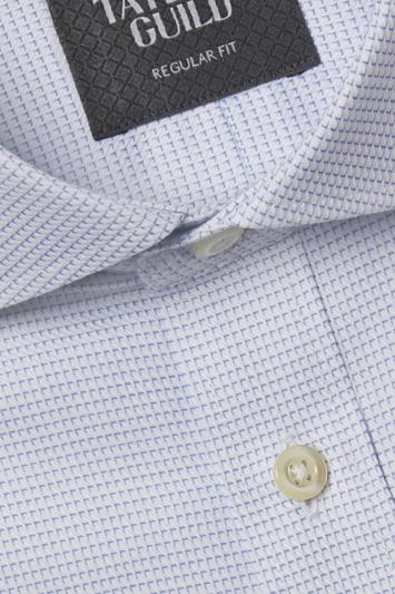 Savoy Taylors Guild Regular Fit Sky Single Cuff Dobby Shirt