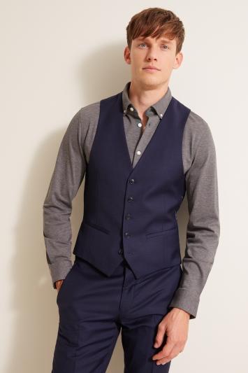 DKNY Slim Fit Navy Panama Openweave Waistcoat