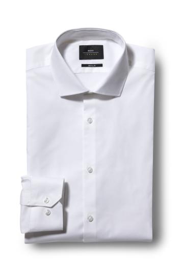 Moss London Skinny Fit White Single Cuff Stretch Shirt