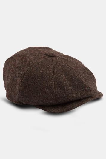 Moss 1851 Chocolate Herringbone Wool Baker Boy Cap