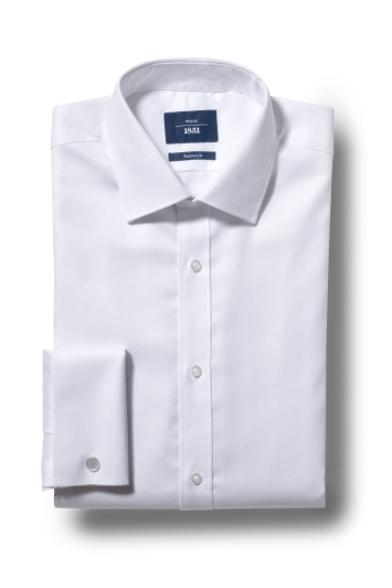 Moss 1851 Tailored Fit White Double Cuff Twill Shirt