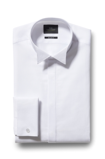 Extra Slim Fit White Wing Collar Dobby Dress Shirt
