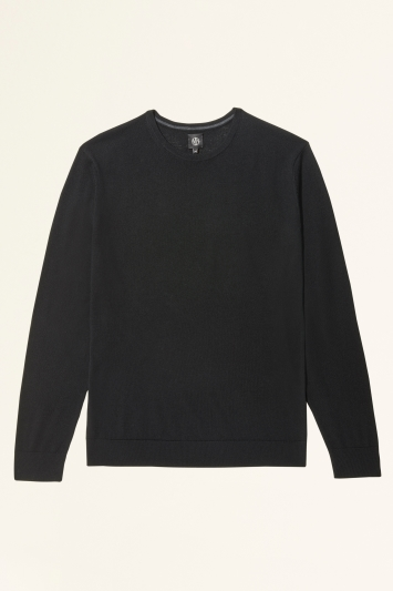 Moss Bros Black Merino-Blend Crew-Neck Jumper