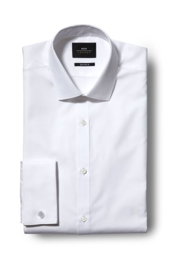 Moss London Skinny Fit White Double Cuff Shirt