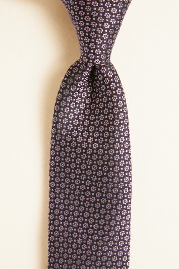 Burgundy with Pink & Blue Floral Geo Silk Tie