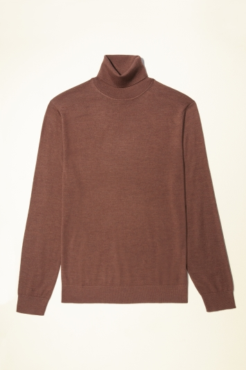 Moss Bros Rust Merino-Blend Roll-Neck Jumper