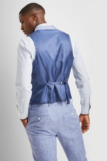 Moss London Premium Slim Fit Blue Linen Waistcoat