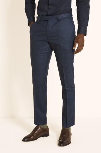 Moss London Guabello Slim Fit Royal Blue Flannel Trousers