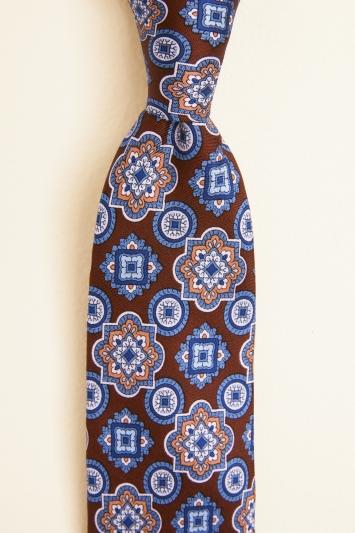 Burgundy with Blue Medallion Print Silk Tie