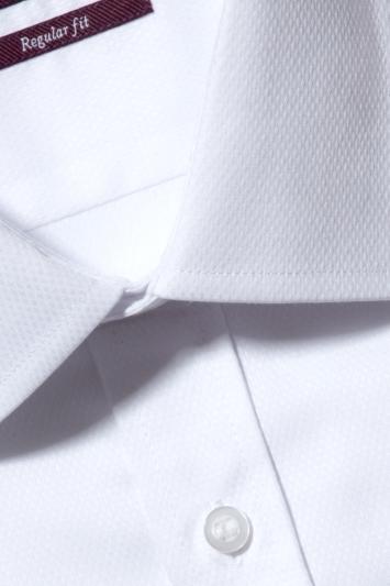 Moss Esq. Regular Fit White Single Cuff Textured Shirt