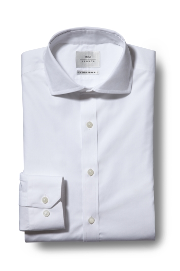 Moss London Premium Extra Slim Fit White Single Cuff Zero Iron Shirt