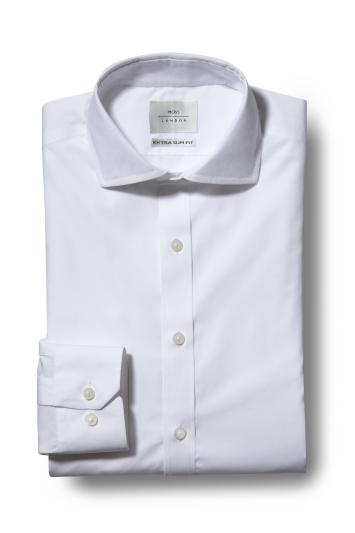 Moss London Premium Extra Slim Fit White Single Cuff Zero Iron Shirt