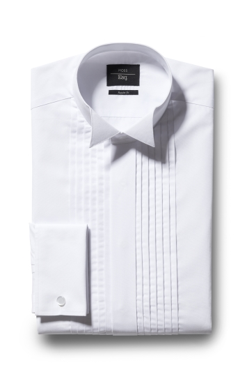 Regular Fit White Wing Collar Pleat Dress Shirt