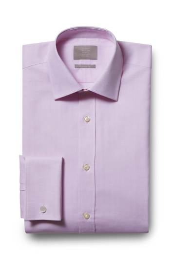 Savoy Taylors Guild Regular Fit Pink Single Cuff Herringbone Shirt