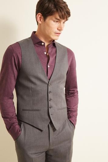 Ted Baker Slim Fit Grey Twill Waistcoat