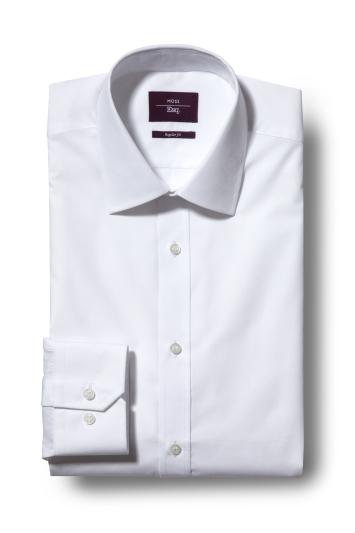 Moss Esq. Regular Fit White Single Cuff Easy Iron Shirt
