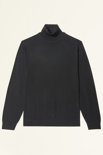 Black Merino-Blend Roll-Neck Jumper