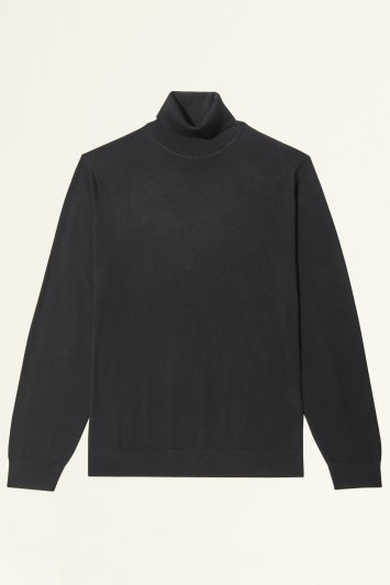 Moss Bros Black Merino-Blend Roll-Neck Jumper