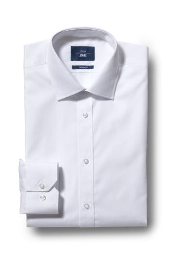 Moss 1851 Tailored Fit White Single Cuff Shirt