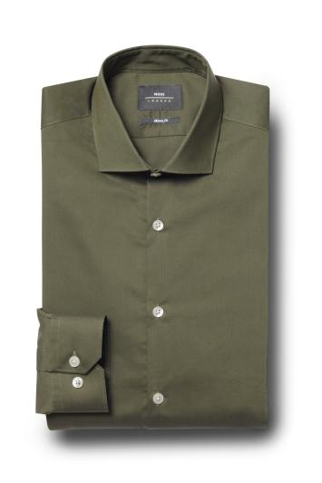 Moss London Skinny Fit Khaki Single Cuff Stretch Shirt