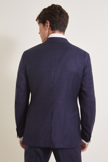 Savoy Taylors Guild Tailored Fit Navy Red Check Jacket