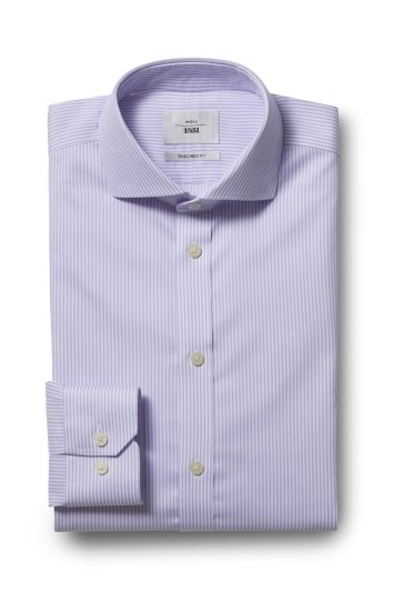 Moss 1851 Tailored Fit Lilac Single Cuff Bengal Stripe Zero Iron Shirt