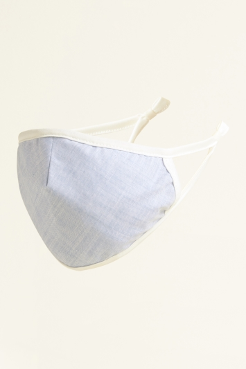 Moss Light Blue Plain Chambray Cotton Mask