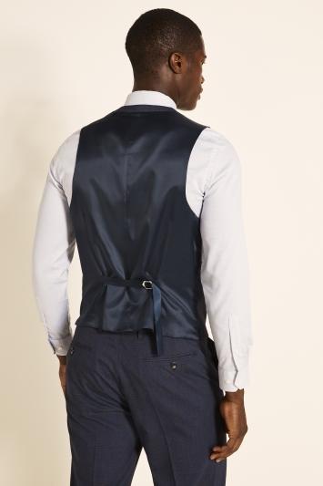 Regular Fit Navy Red Check Waistcoat