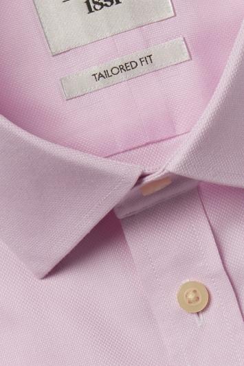 Moss 1851 Tailored Fit Pink Short Sleeve Textured Zero Iron Shirt