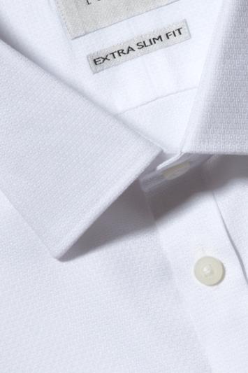 Moss London Premium Extra Slim Fit White Double Cuff Dobby Zero Iron Shirt