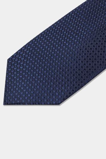 Moss London Navy Textured Tie
