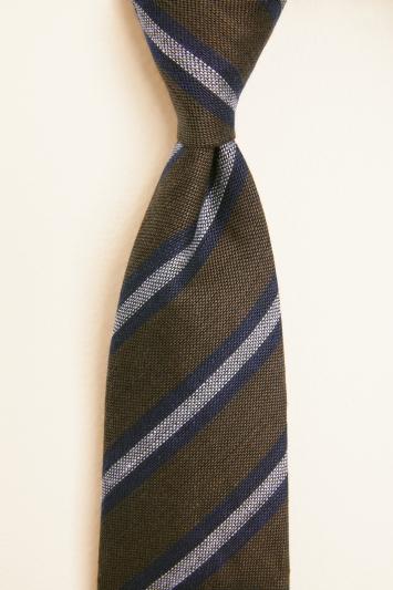 Brown with Navy Stripe Silk & Linen Tie