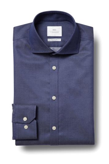 Moss London Premium Extra Slim Fit Navy Single Cuff Twill Zero Iron...