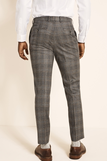 Slim Fit Grey Camel Check Trousers