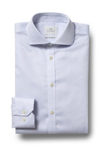 Moss London Premium Extra Slim Fit Sky Single Cuff Dobby Spot Zero Iron Shirt