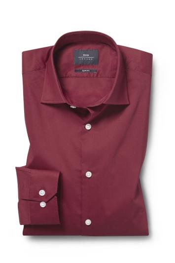 Moss London Slim Fit Red Single Cuff Stretch Shirt