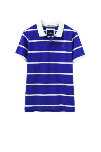 Crew Clothing White and Blue Jersey Polo