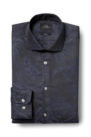 Moss London Skinny Fit Navy Single Cuff Rose Jacquard Shirt