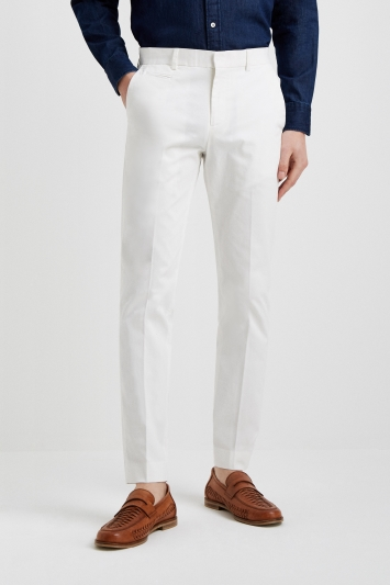 Moss London Slim Fit White Stretch Chino