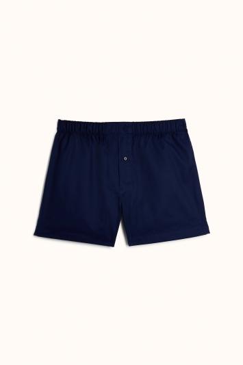 Plain Blue Cotton Poplin Woven Boxer Short