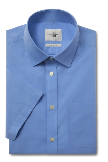Moss 1851 Regular Fit Cornflower Blue Short Sleeve Poplin Zero Iron Shirt